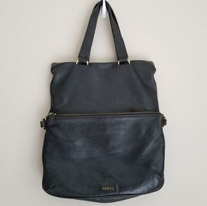 Fossil Memoir fold over leather Tote
